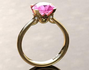 Pink Sapphire Engagement Ring Pink Sapphire Ring 14k or 18k Yellow Gold Matching Wedding Band Available SW1PKY
