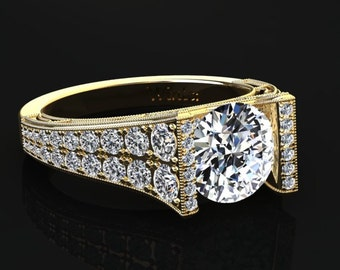 Moissanite Engagement Ring Moissanite Ring 14k or 18k Yellow Gold Matching Wedding Band Available W24MOISY