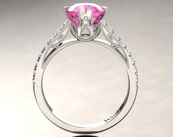 Pink Sapphire Engagement Ring Pink Sapphire Ring 14k or 18k White Gold Matching Wedding Band Available W2PKW