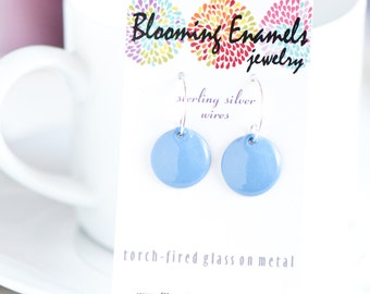 Light Cornflower Blue Earrings, Copper Enamel, Handmade Sterling Silver Ear Wires, Sweet Simple Earrings, Gift for Woman, Gift Under 25