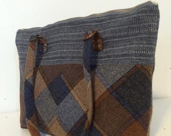 Tote - grey, blue and orange plaid - upcycled fabrics