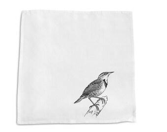 Screen Printed Napkin - Sparrow -  100% Cotton- Handmade  -Eco Friendly Cotton Napkin
