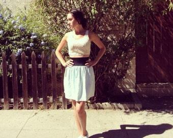 Vintage High Waisted Mint Skirt Cotton Thick Elastic Waistband 1990s