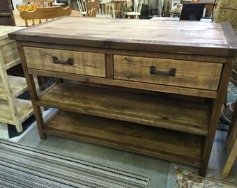 Kitchen Island - Turned Leg Cabinet- Buffet - Sideboard - Rolling Cart - Rustic & Reclaimed Barnwood - Butcher Block - Prep Table
