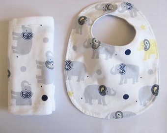 Bib and Burp Cloth Set - White with Grey Elephants