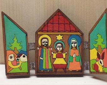 Wood Retablo Nativity Scene Latin American in Bright Colors
