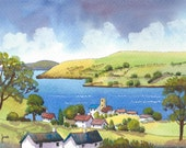 Original Watercolour, Landscape, Painting, Salcombe, Devon, Gift Idea, Art and Collectables