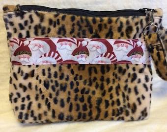 Leopard Fur Wristlet Santa Christmas Handmade Wristlet