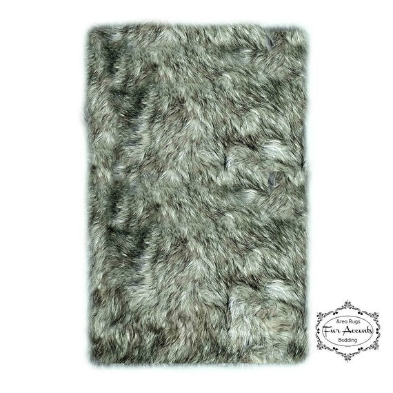 Soft Faux Fur Area Rug Gray Timber Wolf Shaggy By FurAccents