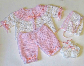 Crochet baby sweater set, Pink Baby Sweater, Crochet Baby Sweater Bonnet, NB-3mo, Booties Pants Set, Baby Shower Gift