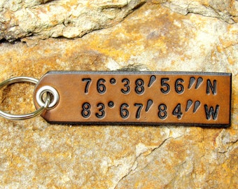 Custom Coordinates Latitude Longitude Keychain leather tag key fob - Secret Places - Favorite Location GPS - Wedding 3rd Anniversary Gift
