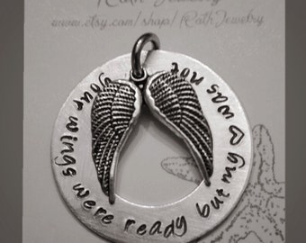 With Brave wings she flies Hand Stamped necklace