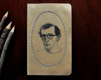 Woody Allen - Original Hand Drawn & Embroidered Notebook