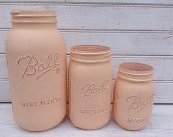 Blush Pink Pale Color Painted Mason Jar -- Set of 3 Shabby Chic Vases in half gallon, quart & pint sizes -- wedding decor (CB055)