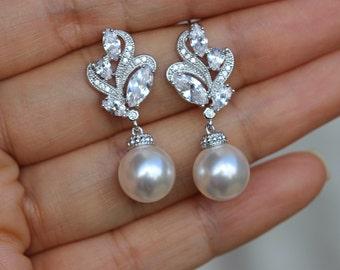pearl jewelry white pearl earrings bridal pearl earring bridal jewelry wedding jewelry bridesmaid jewelry
