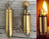 Bullet lighter keychain Pendant *BULK DISCOUNT* Solid Brass functional Bullet L ighter/ Camping/ Biker Accessory T1 mmc