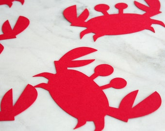 24 Crab Diecuts - Under The Sea Party Decorations - Beach Party - Red Crab Decorations - Nautical Theme Shower