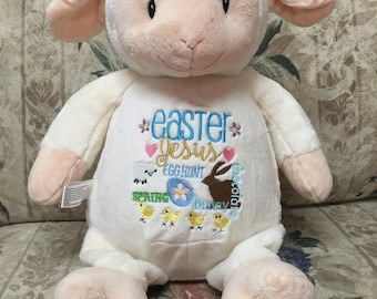 Easter bunny or lamb cubbies stuffed animal or snuggle blanket