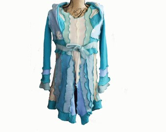 Blue Snowflake Coat Upcycled Reconstructed Size Small Medium Cashmere Wool Winter Recycled