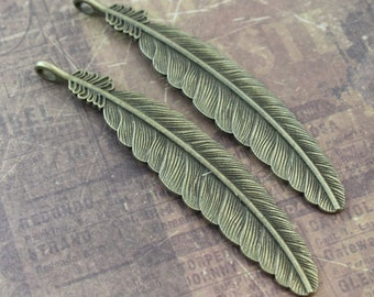 2 Extra Large Feather Charms Feather Pendants Antiqued Bronze Tone 20 x 100 mm