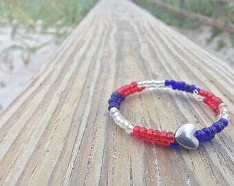 Red White Blue Heart Bracelet