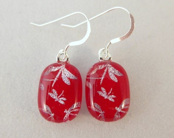 Red Dragonfly Dichroic Fused Glass Dangle Earrings, Dragonflys, Fused Glass, Fused Glass Earrings, Dichroic Earrings, Dangle Earrings
