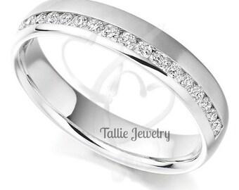 14K White Gold Womens Diamond Wedding Bands,Diamond Eternity Wedding Ring,Matching Wedding Rings,Eternity Wedding Bands