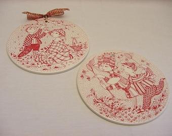 Pair Vintage Bjorn Wiinblad Ceramic Faience Wall Plaques Trivets Nymolle Denmark 1970's