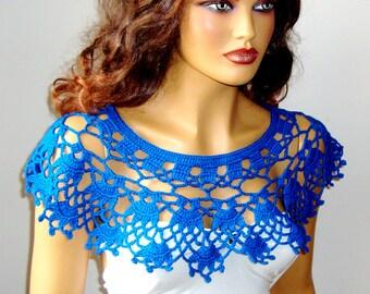 Hand Knit Blue Bolero Shrug Capelet Wrap Shawl, Bride Bridesmaid Bolero,Handknit Wedding Blue Shrug, Crochet  Summer Shrug