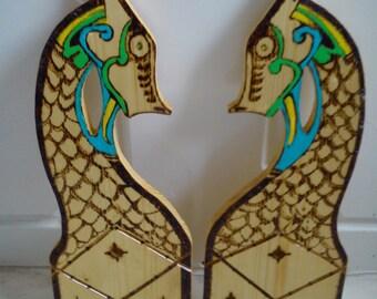 Viking figure heads for A frame etc.. re-enactment larp celtic pair wooden .