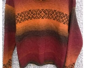 15 off free shipping to UK .Hand made jumper from real wool Kauni yarnSweater.Hand dyed woolfair isle pattern on front