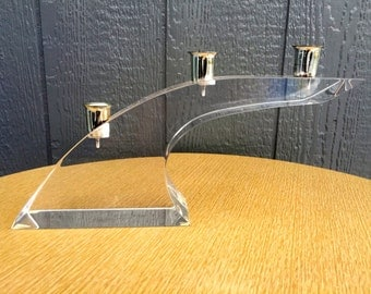 Large Lucite Arch Taper Candle Holder