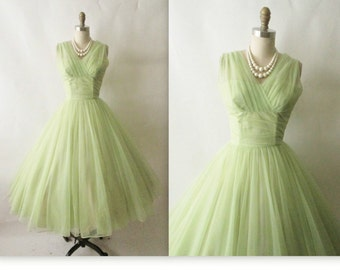 1950s Emma Domb Heavenly Lime Chinffon from the 50s