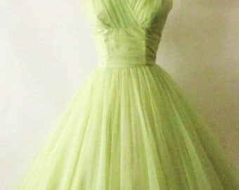 1950s True Vintage Emma Domb Heavenly Lime Green Yellow Chinffon from the 50s