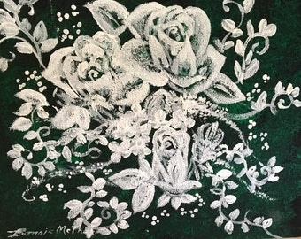 SHOP SALE! Original Acrylic Framed Painting Lace Roses