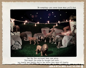 8x10 Night Circus Story Print • Circus Animal Story • Digital Print • Collectible Art • Fable Wall Art • Circus Art