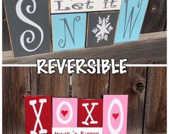 Reversible Winter & Valentine's day wood blocks-Let it Snow reverses with XOXO Hugs 'n Kisses