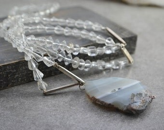 Long pendant necklace agate slice - style rosary - mâla