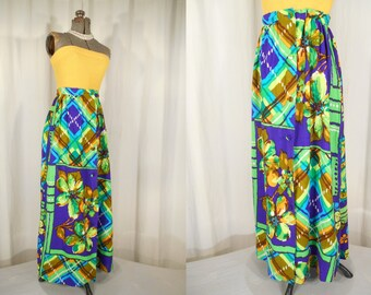 Vintage 1960s Skirt / 60s Hawaiian Skirt XL/ Neon Purple Green Button Front Maxi Skirt / Plus Size Boho Hippie A Line Skirt