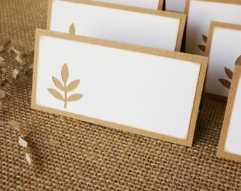 Wedding Place Cards - Rustic Wedding Place Cards - Tented Place Cards - Ash Leaf Place Cards - Fall Leaf Place Cards - Reception Place Cards
