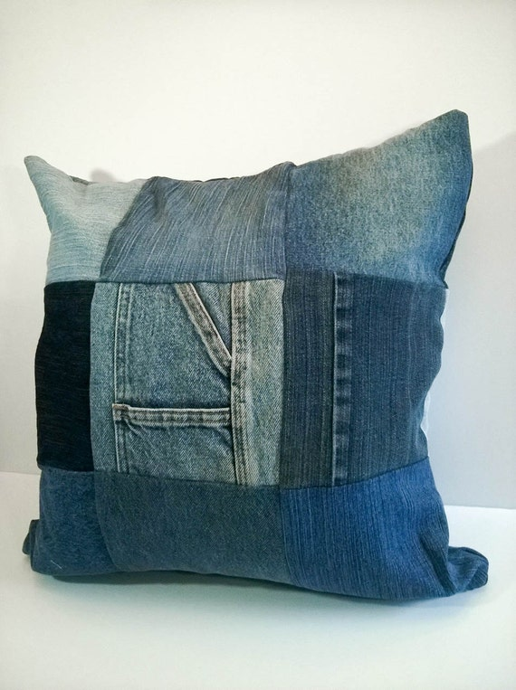 Upcycled Denim Throw Pillow Cover Jean Patchwork Lined