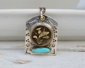 Sterling Antique Button Necklace. Navajo Stamp . Old Turquoise . Rustic . Earthy . Boho .