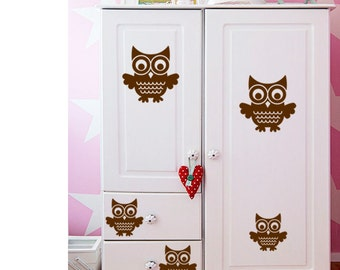 Brown Color Owl Theme Wall Sticker for Home Decor
