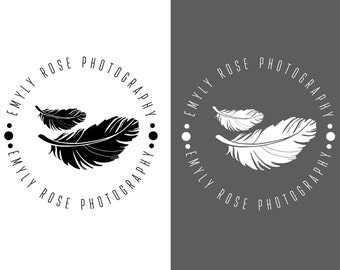 DIGITAL Feather logo, black white feathers watermarks, Custom logo design, photography logo, black white feather logo, premade feather Logo