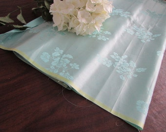 "lovely Vintage pale blue SILK floral damask yardage FABRIC 4.5 yards x 27"" Y-102"