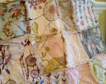 Baby Quilt, Baby Girl Pink Gray Blue Dream Catcher Feathers Arrows Roses Rag Quilt Minky Bohemian Dreamcatcher Crib Bedding