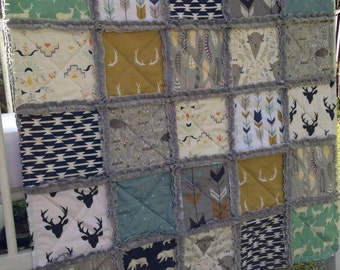 Crib Rag Quilt, Baby Boy, Quilt, Buffalo Quilt, Baby Quilt Crib Bedding Woodland Blue Mustard, Arrows, Feathers, Deer Quilt, Navy, Mint, Elk