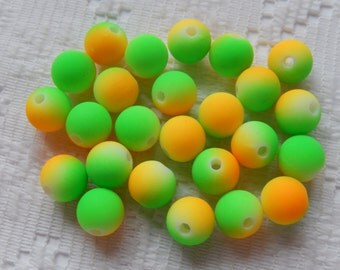 16  Bright Neon Golden Yellow & Neon Lime Green Acrylic Round Beads  10mm