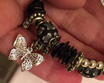 Memory wire beaded bracelet butterfly charm