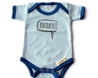 Baby bodysuit - Bilingual,  Bonjour, hi, Light blue, Baby gift,  0-3 months,  Short sleeves, handprinted in Canada,  English, French, Onesie